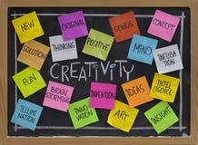 Nube de la palabra de la creatividad en la pizarra Fotos de archivo