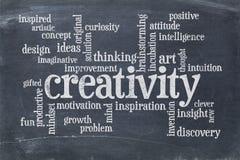 Nube de la palabra de la creatividad en la pizarra de la pizarra imágenes de archivo libres de regalías