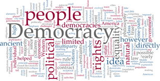 Nube de la palabra de la democracia Fotos de archivo