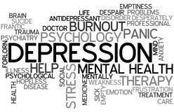 Nube de la palabra de la depresión stock de ilustración