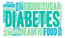 Nube de la palabra de la diabetes Imágenes de archivo libres de regalías