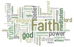 Nube de la palabra de la fe Foto de archivo libre de regalías