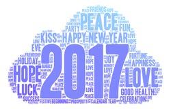 Nube de la palabra de la Feliz Año Nuevo 2017 Imágenes de archivo libres de regalías