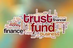 Nube de la palabra de la fondo fiduciaria con el fondo abstracto Fotografía de archivo libre de regalías