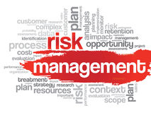 Nube de la palabra de la gestión de riesgos Fotografía de archivo