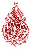 Nube de la palabra de la gota de sangre Fotos de archivo libres de regalías