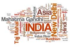 Nube de la palabra de la India ilustración del vector