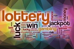 Nube de la palabra de la lotería con el fondo abstracto Imagenes de archivo