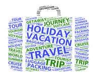 Nube de la palabra de la maleta para el World Travel y las vacaciones Foto de archivo libre de regalías