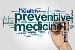 Nube de la palabra de la medicina preventiva imágenes de archivo libres de regalías