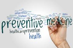 Nube de la palabra de la medicina preventiva imagen de archivo