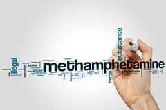 Nube de la palabra de la metanfetamina Imagenes de archivo