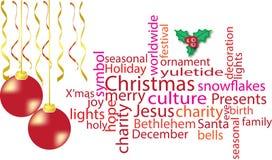 Nube de la palabra de la Navidad en rojo Foto de archivo libre de regalías