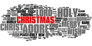 Nube de la palabra de la Navidad, texto rojo Imagen de archivo libre de regalías