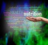 Nube de la palabra de la nutrición y de la salud imagen de archivo libre de regalías