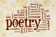Nube de la palabra de la poesía en el papel del vintage imagen de archivo