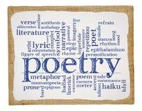 Nube de la palabra de la poesía en lona de arte fotos de archivo libres de regalías