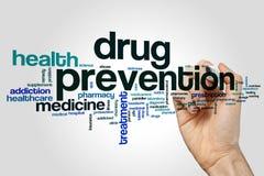 Nube de la palabra de la prevención del consumo de drogas imagen de archivo