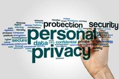 Nube de la palabra de la privacidad personal foto de archivo
