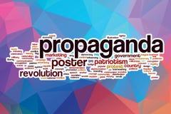 Nube de la palabra de la propaganda con el fondo abstracto stock de ilustración