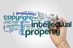 Nube de la palabra de la propiedad intelectual fotografía de archivo