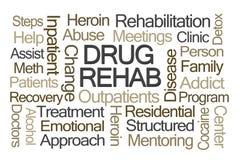 Nube de la palabra de la rehabilitación de la droga Imagenes de archivo