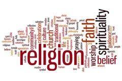 Nube de la palabra de la religión Imágenes de archivo libres de regalías