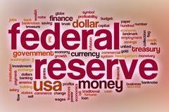 Nube de la palabra de la reserva federal con el fondo abstracto stock de ilustración