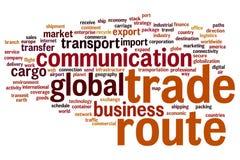 Nube de la palabra de la ruta comercial Imagen de archivo libre de regalías