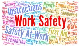 Nube de la palabra de la seguridad del trabajo Foto de archivo libre de regalías