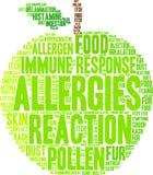 Nube de la palabra de las alergias Imágenes de archivo libres de regalías