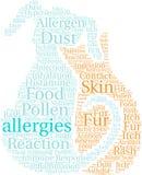 Nube de la palabra de las alergias Fotografía de archivo libre de regalías