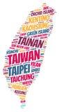 Nube de la palabra de los destinos del viaje del top de Taiwán Imagen de archivo