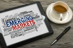 Nube de la palabra de los mercados emergentes Imágenes de archivo libres de regalías