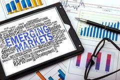 Nube de la palabra de los mercados emergentes Foto de archivo