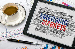 Nube de la palabra de los mercados emergentes Imagen de archivo libre de regalías
