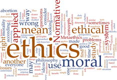 Nube de la palabra de los éticas Imagen de archivo libre de regalías