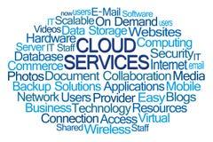 Nube de la palabra de servicios de la nube foto de archivo
