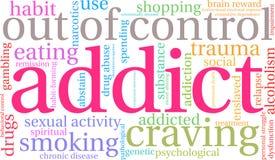 Nube de la palabra del adicto libre illustration