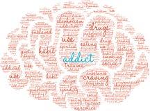 Nube de la palabra del adicto stock de ilustración