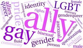 Nube de la palabra del aliado LGBT libre illustration