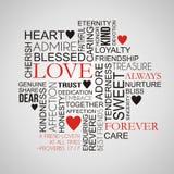 Nube de la palabra del amor y de la amistad Imagen de archivo libre de regalías