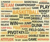 Nube de la palabra del baloncesto del Grunge Imagen de archivo libre de regalías
