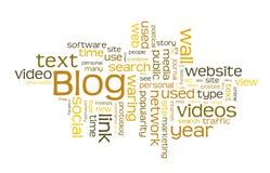 Nube de la palabra del blog Fotografía de archivo libre de regalías