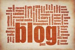 Nube de la palabra del blog - impresión roja en lona Imagenes de archivo