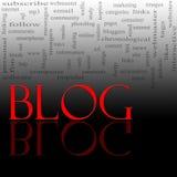 Nube de la palabra del blog roja y negra Foto de archivo libre de regalías
