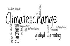 Nube de la palabra del cambio de clima Foto de archivo