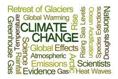 Nube de la palabra del cambio de clima Fotos de archivo libres de regalías