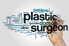 Nube de la palabra del cirujano plástico fotos de archivo