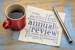 Nube de la palabra del comentario anual en servilleta Imagen de archivo libre de regalías